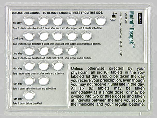 methylprednisolone dose pack instructions